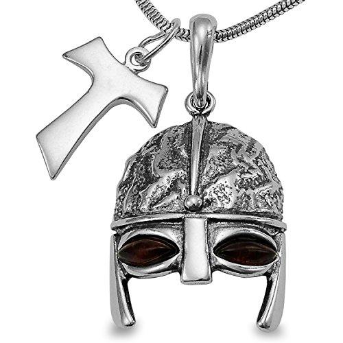 3tlg Silber Set Halskette Bernstein Gladiator Helm Ritter Ritterhelm Amulett & Kreuz Schmuck Anhänger inkl. Geschenkbox mit 40 45 50 55 60cm Schlangenkette #1673 (40)