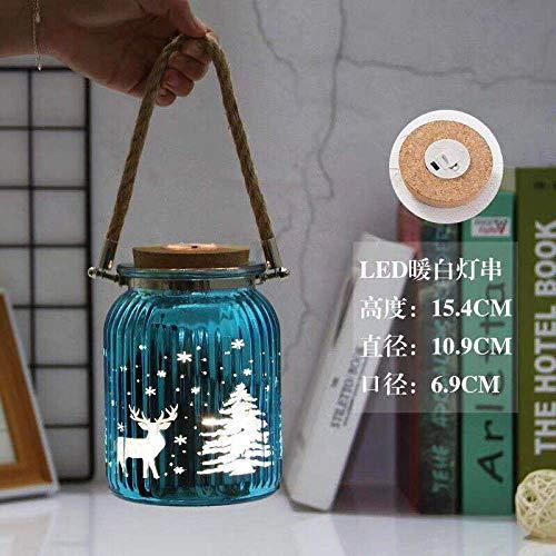 Creatieve lamp string galvaniseren snijwerk kleurrijke henneptouw sling kurk gloeiende lamp warm witte kleur vaas-blauw