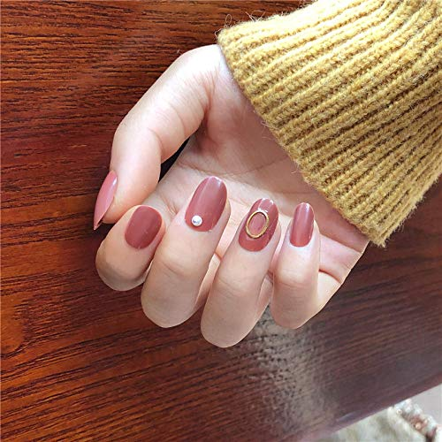 CSCH Faux ongles Tender red bean pure color with golden Hollow ring decoration fake nails bride full nail tips cute false nails acrylic