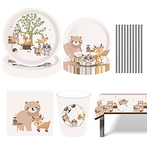 Amycute Suministros de Fiesta de Animales, 70 pcs Vajilla de Animales para Niños Cumpleaños Baby Shower Decoración, Includes Animal Platos Vasos Servilletas Pajas Mantel, (8 Invitados)