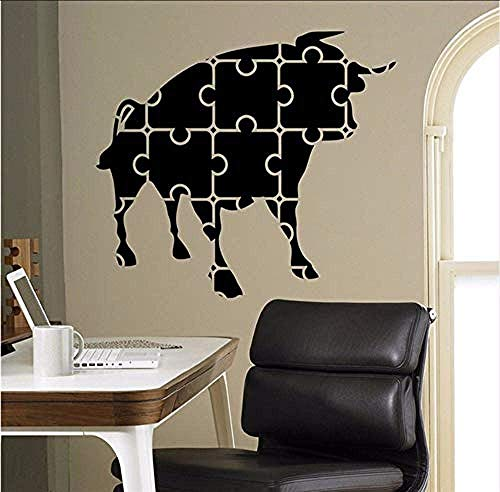 Aufkleber Mosaik Puzzles Bull Abstraktes Design Dekoration Baby Zitat Wandtattoo Kinderzimmer Entfernbare Wandaufkleber Dekoration 58 X 65 Cm