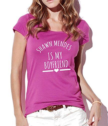 bemode T-Shirt Donna Maniche Corte in Cotone Shawn Mendes IS My Boyfriend (S, Fucsia)