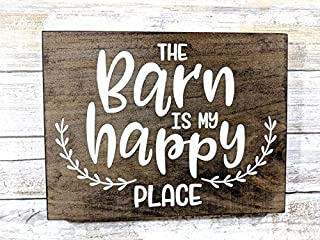 CELYCASY The Barn is My Happy Place Wood Sign, Rustic Wood Sign, Farm Humor, Rustic Decor, Farmhouse Signs, Funny Signs, Custom Colors Avail