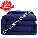 SONORO KATE Weighted Blanket - 100% Cotton Material | with Glass Beads Heavy Bed Blanket(Navy Blue 2.0, 60''x80'' 15lbs)