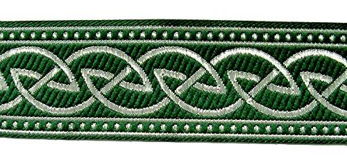 10m Keltischer Knoten weit Webband Borte 33mm Farbe: Grün-Silber von 1A-Kurzwaren 35034-gnsi