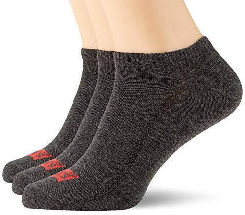 Levi's Unisex Low Cut Batwing Logo Socken, Anthrazit Melange/Schwarz, 39/42
