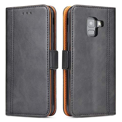 Bozon Galaxy A8 2018 Hülle, Leder Tasche Handyhülle Flip Wallet Schutzhülle für Samsung Galaxy A8 (2018) mit Ständer und Kartenfächer/Magnetverschluss (Schwarz-Grau)