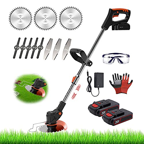 String Trimmer 24V Battery Powered Cordless Electric Weed Eater Grass Trimmer Edger Lawn Tool, Adujstable Height & Lightweight Grass Brush Cutter Garden Weed Wacker with 2 Batteries & Blades,Black