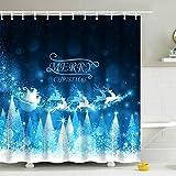 IcosaMro Weihnachts-Duschvorhang für Badezimmer mit Haken, Stern Weihnachtsmann Schnee Wald Dekorationen Badezimmer Gardinen – 71 B x 72 L, blau