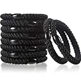 10 Pieces Hair Ties Woven Ponytail Holders Hair Ties Bands for Women Girls, Simply Hair Tie for Thick Heavy or Curly Hair (Black)