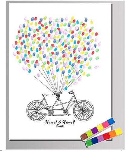 NOVAGO Lienzo de huellas dactilares creado por sus invitados para bodas, aniversarios, cumpleaños, bautizos, comuniones 30 x 40