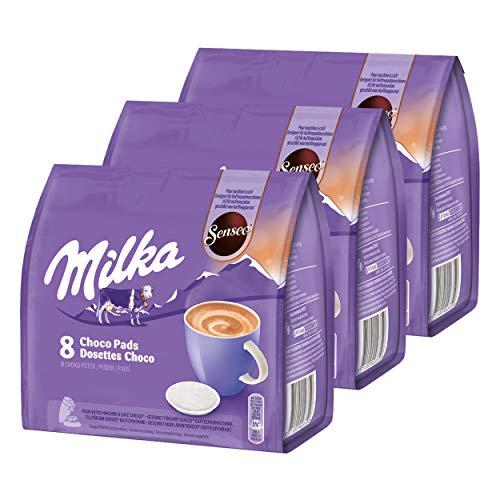 Senseo Milka Choco Pads 3er Set, Schokoladengetränk, Kakaogetränk, Kaffeepads, 3 x 8 Pads / Portionen