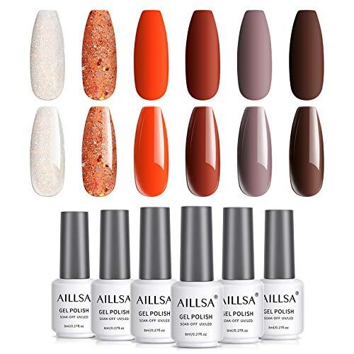 AILLSA 6pcs Glitzer Weiß Orange Gel Nagellack Set, Soak Off Braun UV Nagellack Starter Kit - 8ml