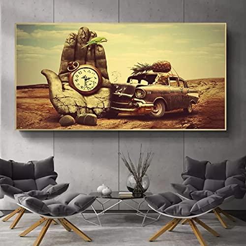 JLFDHR Lienzo arte de pared 40x60cm sin marco abstracto gato Drving coche con reloj de bolsillo relojes arte impresión pintura extraño surrealismo pared imagen decoración del hogar oster1