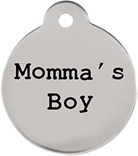 dogIDS Momma's Boy Dogspeak Pet ID Tag - Funny Personalized Laser Engraved Stainless Steel with Free S-Hook and Split Ring