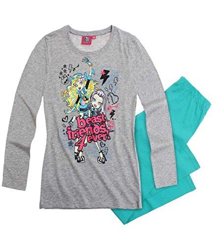 Monster High süßer Mädchen Schlafanzug 2-Teiler Schlafanzug Pyjama lang 3 Motive, Farbe:melange grau/türkis;Größe:128