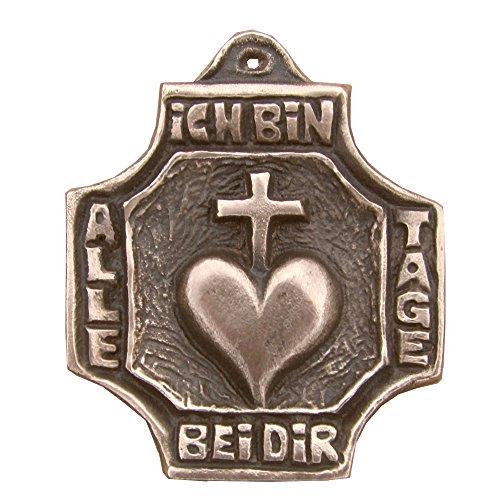 Wilde Bronzekreuz Bronze Kreuz Herz Kommunion 7 cm * 5,5 cm