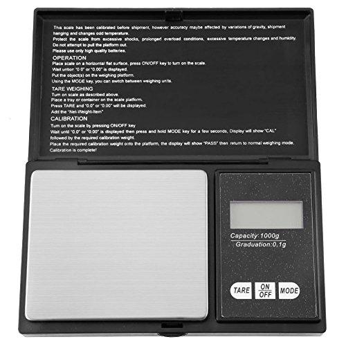 Acogedor Zakweegschaal, roestvrij staal, draagbaar, voor goud, zilver, diamanten, munten, edelstenen, sieraden, kruiden zakweegschaal met LCD-display, hoge precisie van 0,1 g of 0,01 g (zonder batterij)