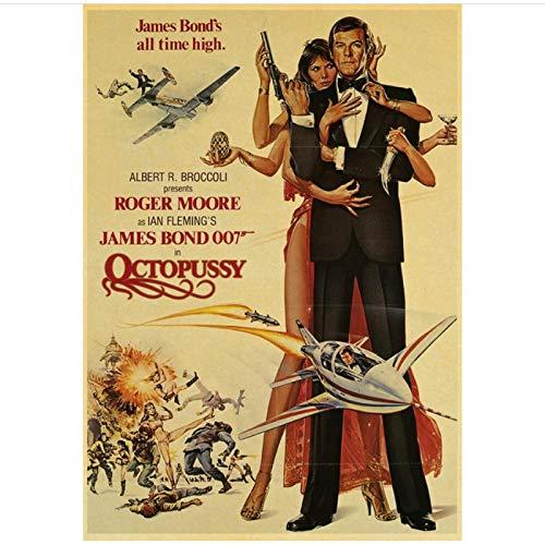 ZGHDHR British Legend James Bond 007 Poster e Stampe di Film Vintage Wall Art for Living Room Decorazioni da Parete Dipinti -50x70 Cm No Frame 1 Pz