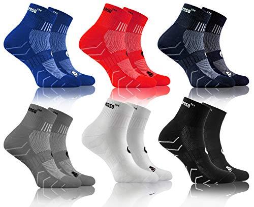 Sesto Senso Baumwolle Sportsocken Damen Herren Bunte Sport Socken 3-6 Paar Blau Rot Dunkelblau Grau Weiß 35-38 6 Pack Schwarz