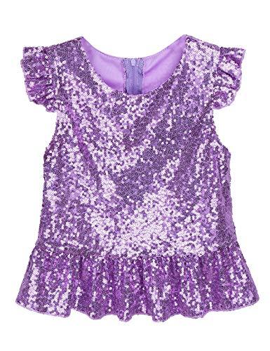 YiZYiF Kids Girls Princess Ruffle Sleeves Sparkle Sequins Tee Peplum Tops for Mermaid Birthday Dress up Lavender Top 4-6 Y