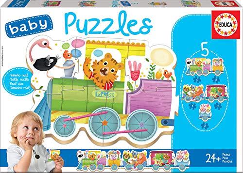 Educa - Baby Puzzles, puzzle infantil Tren de los animales, 5 puzzles progresivos de 3 a 5 piezas, a partir de 24 meses (17142)