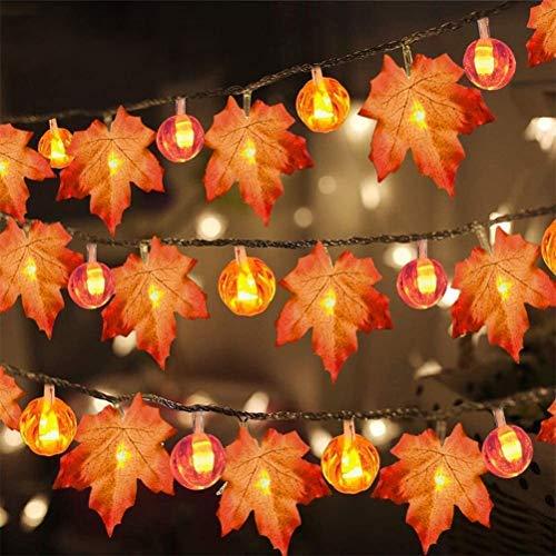 Halloween Decoración Calabaza Cadena Luces 20LED Hoja de Arce USB Halloween Decoraciones Colgantes Luces para Fiesta Festival Interior al Aire Libre