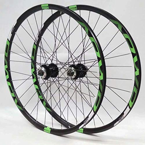 LHHL Bicycle Wheel Set 26'/27.5'/29' for Mountain Bike Double Wall Rims Disc Brake 8-10 Speed Card Hub Quick Release 32H (Color : Green, Size : 26')