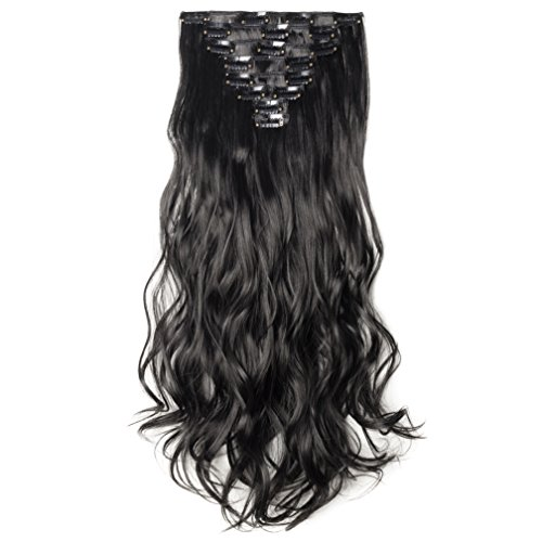 S-noilite Long Natural 24 Inch(61cm) Curly 170g 8 Pieces Full Head Clip in Hair Extensions for Girl Lady Women(24inch-curly, dark black)