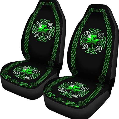 XTRENDZ Irish Shamrock Celtic Car Seat Covers Car Seat Protector for Women Men Auto Seat Covers Set of 2 (Green, 79.5 x 49.5 x 47.5)