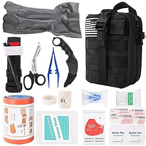 Kit de emergencia para traumatismos, suministros profesionales de primeros auxilios con bolsa Molle, torniquete, vendaje israelí de 6 'Ideas de regalos para hombres, familias, cuidado de heridas por