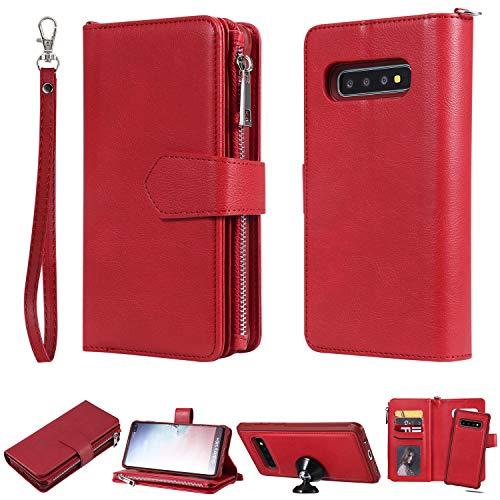 HUDDU Compatible para Funda Samsung Galaxy S10 Plus Carcasa Libro con Tapa Flip Case Función de Soporte Cremallera Cierre Magnético Billetera Elegante Retro Suave PU Cuero 2 in 1 Tarjetero Rojo