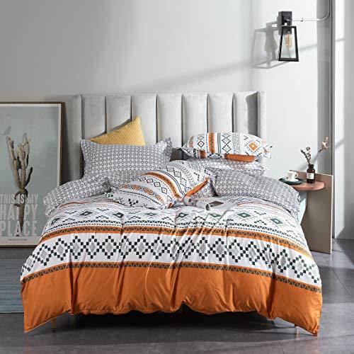 LAMEJOR Duvet Cover Set Queen Size Boho Style Chevron Geometric Design Reversible Luxury Soft Bedding Set Comforter Cover (1 Duvet Cover+2 Pillowcases) Orange / White