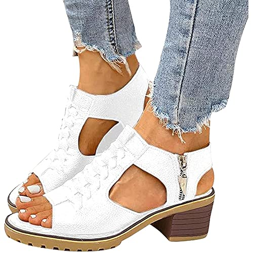 LLKJT Sandalias Mujer Cuña Comodas Talón Pendiente Fondo Grueso Sandalia Casual Zapatos de Playa Retro,Blanco,39