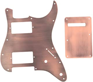 Guitar Pickguard Back Plate, Copper Pick Guard with Back Plate Tremolo Cavity Cover for ST Guitar HH Instruments Replacement Accessory