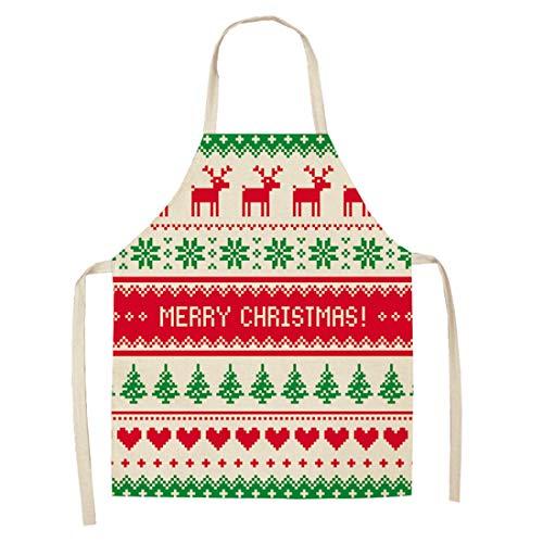 WQYH Weihnachten Hirsch Print Küche Kochschürze Familie/Backen/Restaurant/Garten/Grill Schürze (Mehrere Muster) 68X55Cm F4