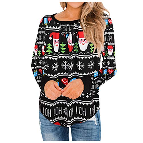 Purchase RUIVE Women's Color Christmas Tops Long Sleeve Xmas Claus Pattern Print Basic Shirt Crew ...