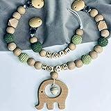 Kinderwagenkette Und Schnullerkette Mit Namen Set Elefant Glöckchen personalisiertes Baby Geschenk Grün