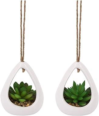Segreto Artificial Plants Potted Hanging Basket Bonsai Fake Succulent Plants Flowerpot Faux Greenery Creative Ornaments for H