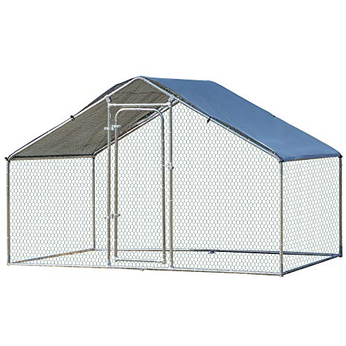 PawHut Galvanized Large Metal Chicken Coop Cage 1 Room Walk-in Enclosure Poultry Hen Run House Playpen Rabbit Hutch UV & Water Resistant Cover for Outdoor Backyard 118' x 79' x 77'