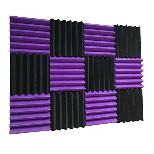 Paquete de 12 baldosas de espuma para estudio de insonorización acústica púrpura/negra, 2 pulgadas x 12 pulgadas x 12 pulgadas