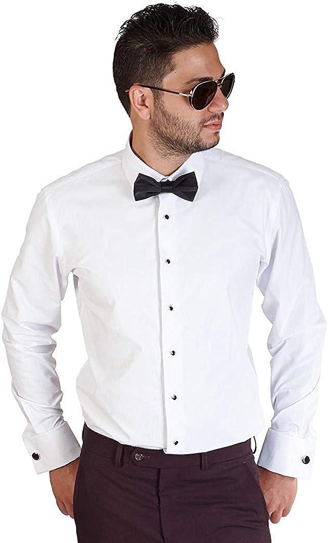 AZAR MAN Slim Fit Lay Down White French Cuff Tuxedo Dress Shirt