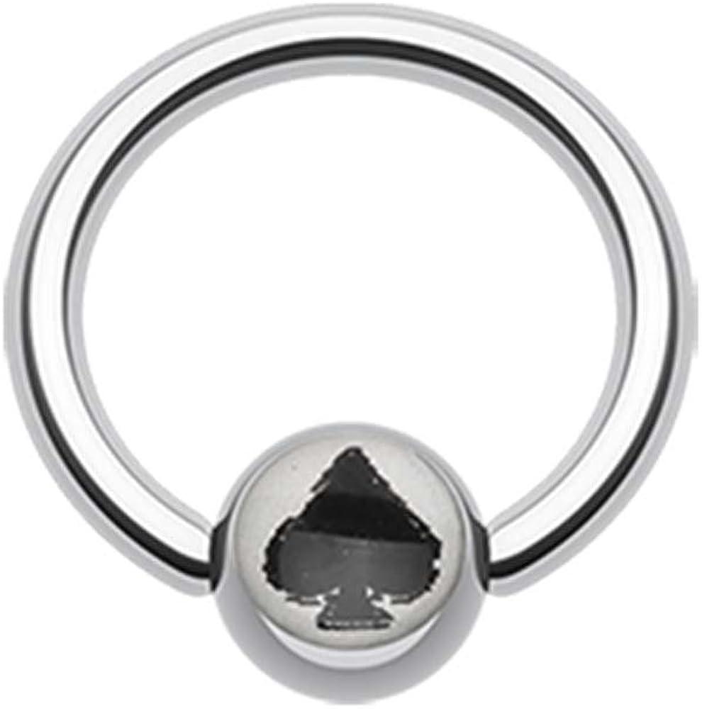 Lucky Spade Logo Ball Captive Bead Ring - 14G (1.6mm) - Sold as a Pair