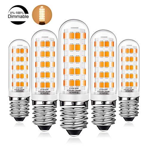 E14 LED Klein Edison Screw-Birne dimmbar, 6W 40W / 60W E14 SES Glühlampen Equivalent, warmweiß 520lm kein Flimmern, AC220V-240V, for Dunstabzugshaube Lampen, Deckenventilator Lichter im 5er-Pack Lzpzz