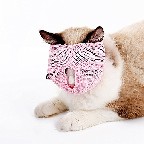ZOOPOLR Cat Muzzles - Breathable Mesh Muzzles Prevent Cats from Biting and Chewing - Anti Bite Anti Meow (Blue-S) Review