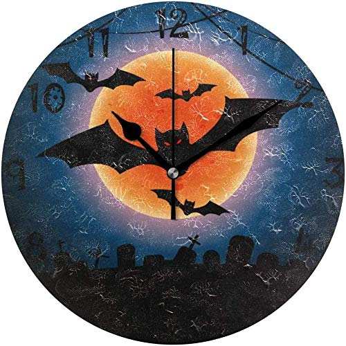 tuobaysj Reloj de Pared Art Halloween Bat Moon Reloj de Pared Redondo Placa Circular Relojes silenciosos Que no Hacen tictac para Cocina Oficina en casa Decoración Escolar Niños Niños Niñas
