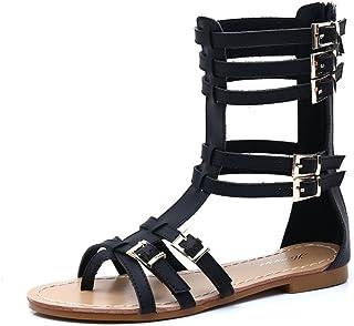 45ed875043c8d3 Gracosy Sandales Cuir Femmes Plates, Spartiates Chaussures Romaines Été  Plates Montantes à Talons Plat à