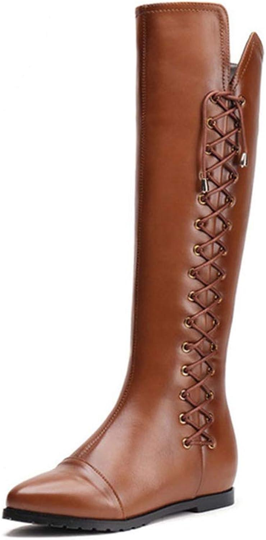 T -JULY Storlek Real Real Real läder kvinnor Knee stövlar Zipper Square klackar Winter skor Lace Up Woherrar Point Toe Knee höga stövlar  handla på nätet