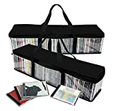 Imperius Portable CD Sturdy Storage Collection Bag/Moistureproof with Zipper and Carrying Handles/Easy to Carry/Total 48 CD's Set of 2