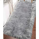 LOCHAS Ultra Soft Fluffy Rugs Faux Fur Sheepskin Area Rug for Bedroom Bedside Living Room Carpet Nursery Washable Floor Mat, 2x4 Feet Gray